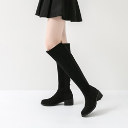 Block Heel Slip-On Fashion Knee High Boots
