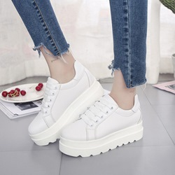 White Lace-Up Platform Women's Casual Shoes