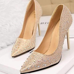 Elegant Rhinestone Slip-On Stiletto Heels