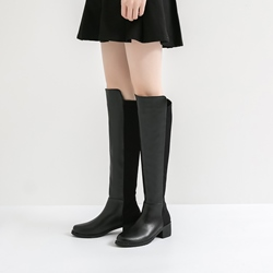 Casual Black Slip-On Block Heel Knee High Boots