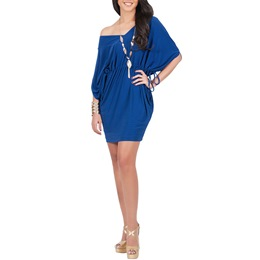 Lace-Up Half Batwing Sleeve Bodycon Dresses