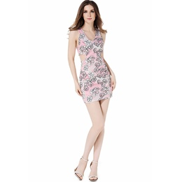 Pink V-Neck Floral Print Sleeveless Bodycon Dresses