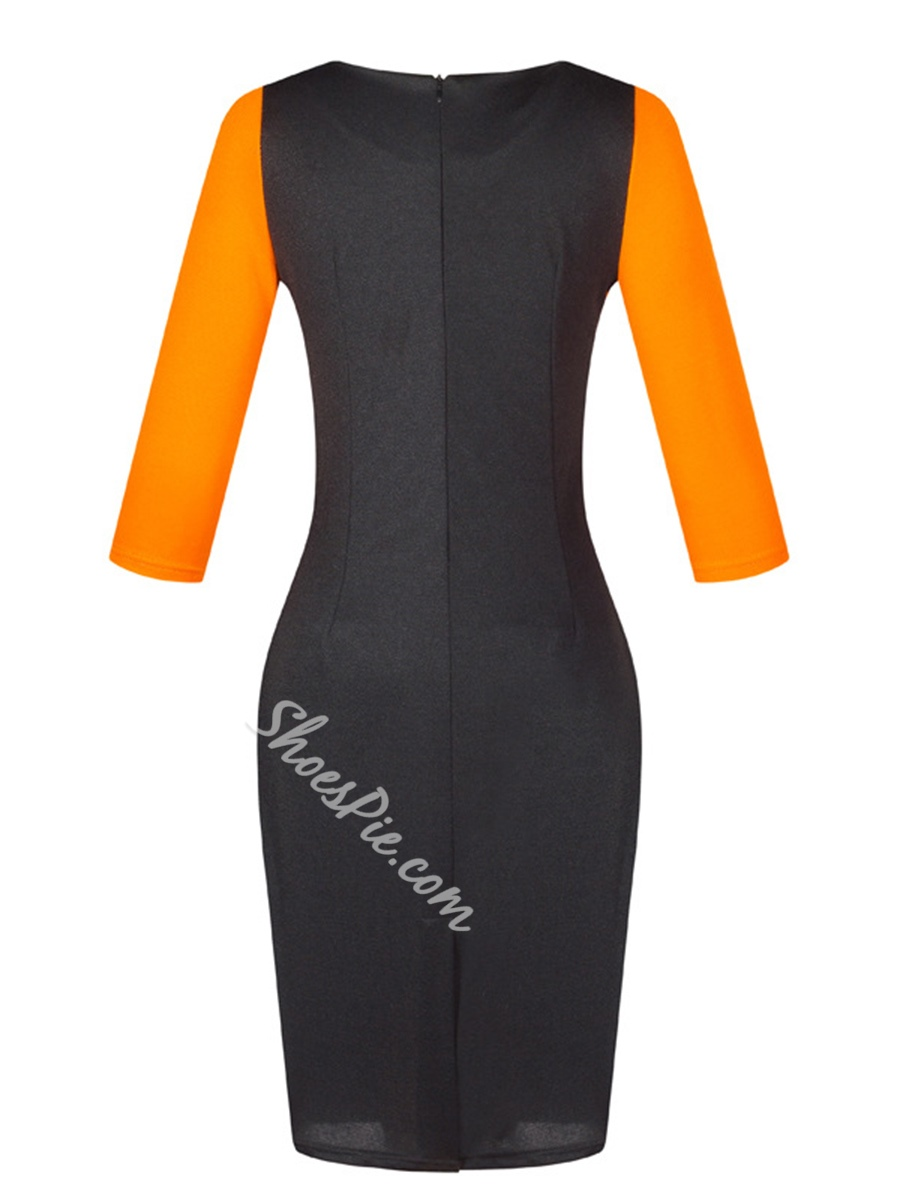 Shoespie Color Block Pencil Women's Bodycon Dress
