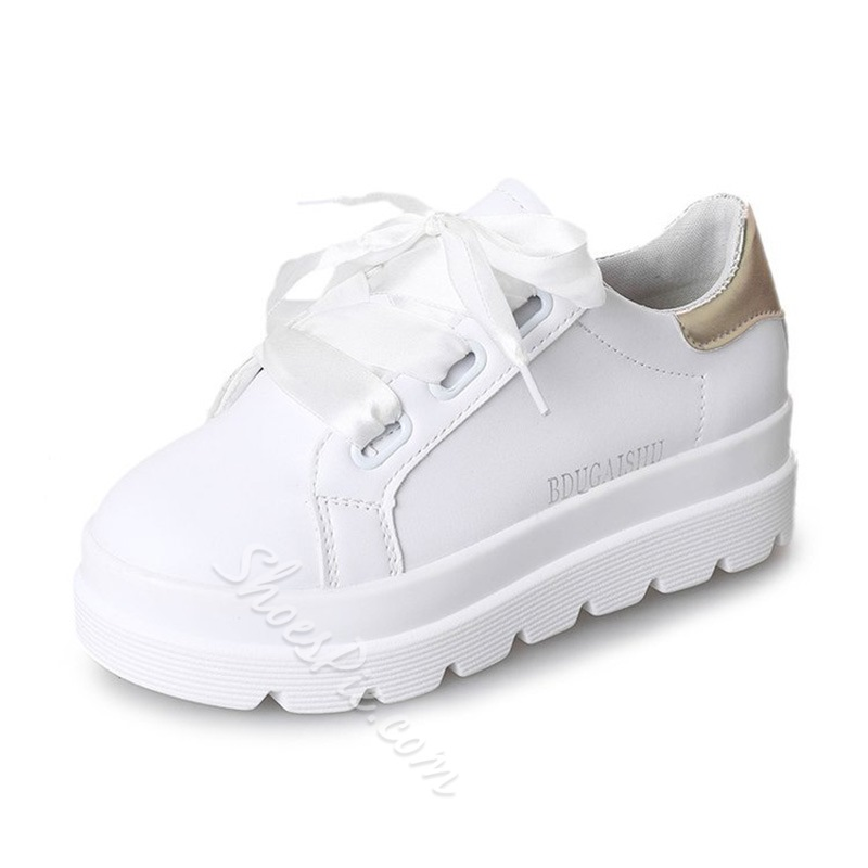 Women's Lace-Up Color Block Casual Shoes