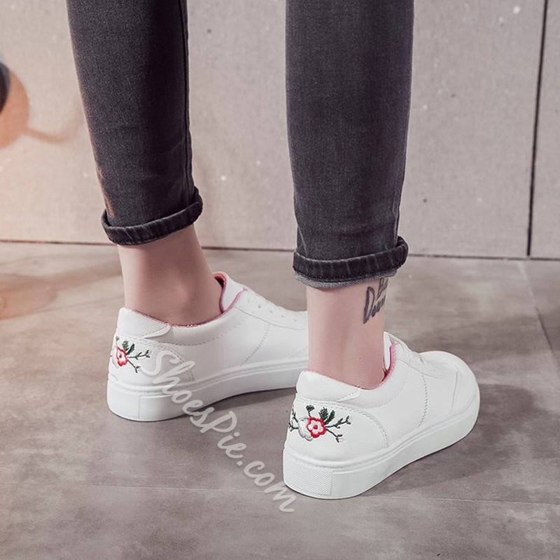 Solid Color Floral Women's Casual Sneakers