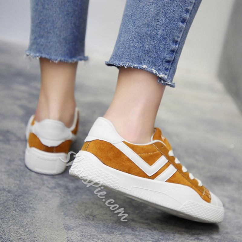 Color Block Lace-Up Women's Casual Sneakers