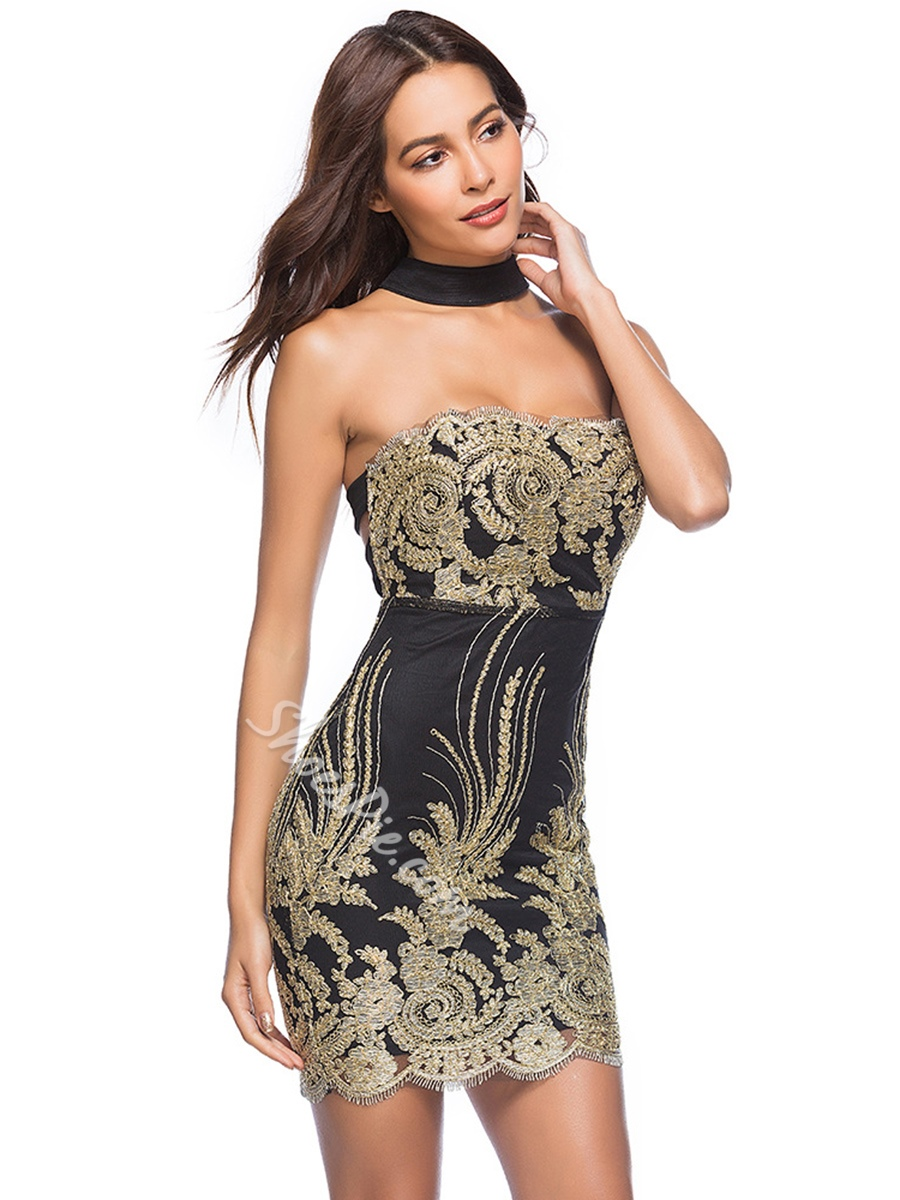 Hollow Backless Embroidery Sequins Bodycon Dresses