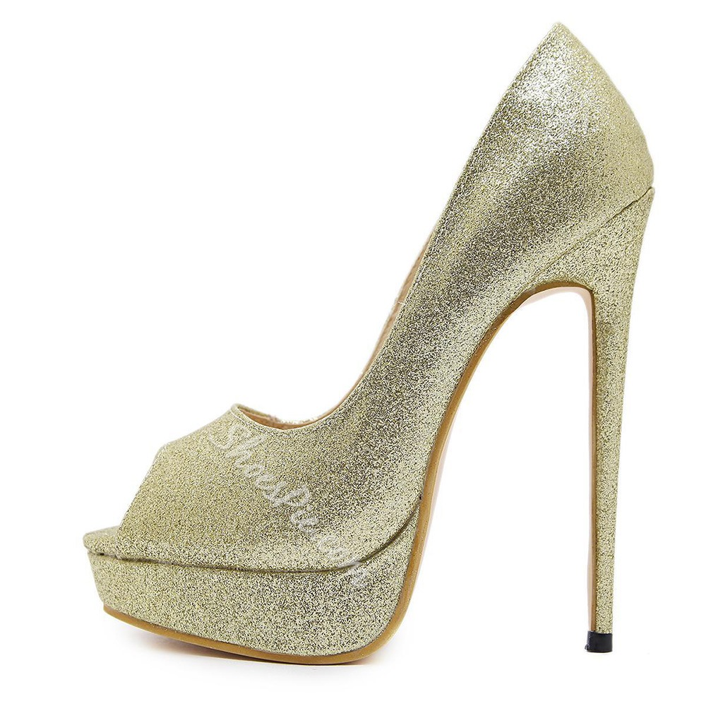 Solid Color Peep Toe High Stiletto Heels