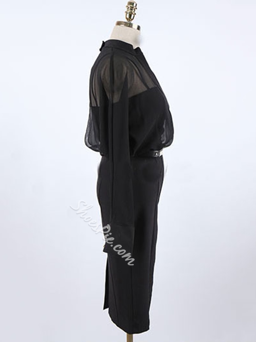 See-Through Double-Layer Batwing Sleeve Bodycon Dresses