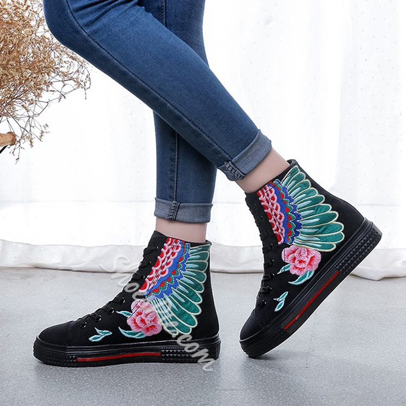 Embroidery Sexy Lace-Up Women's Shoes