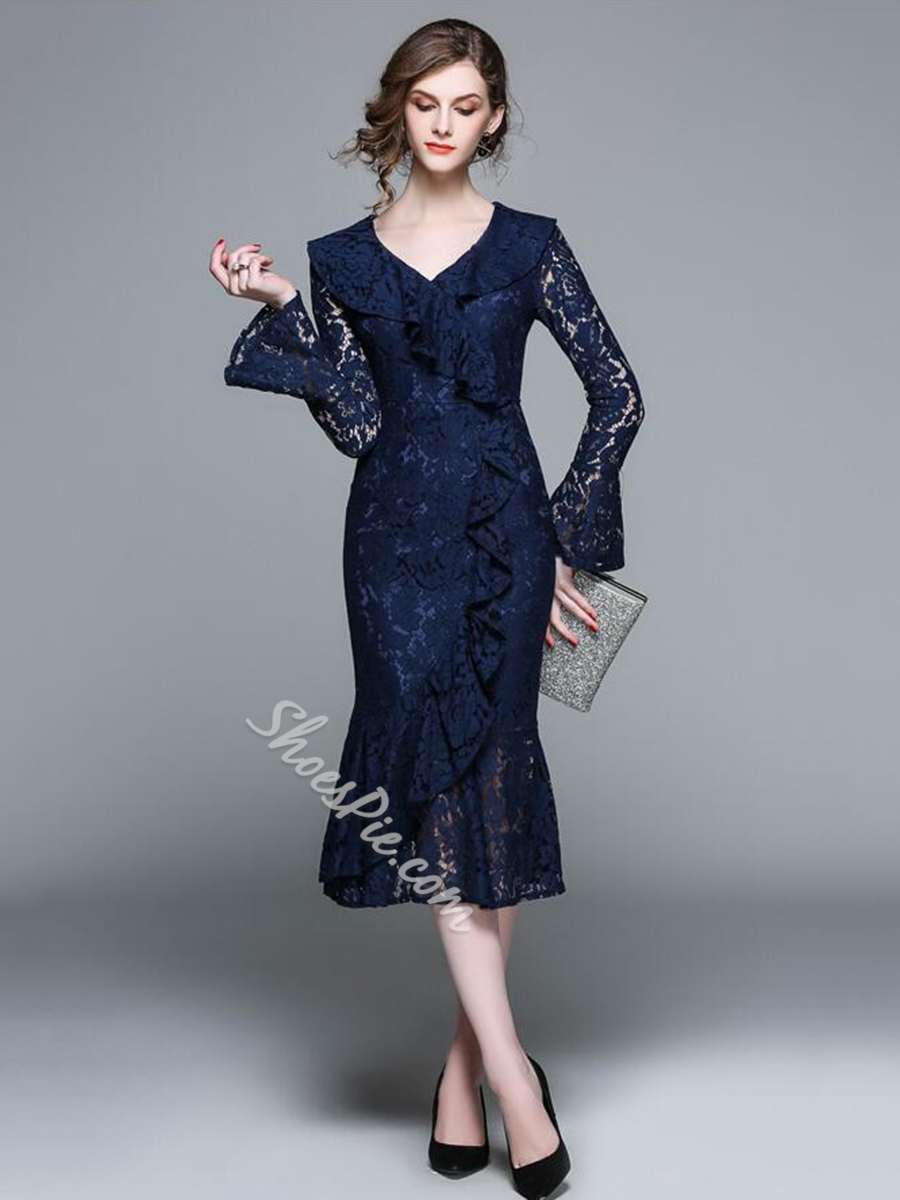 V-Neck Hollow Lace Flare Sleeve Bodycon Dresses
