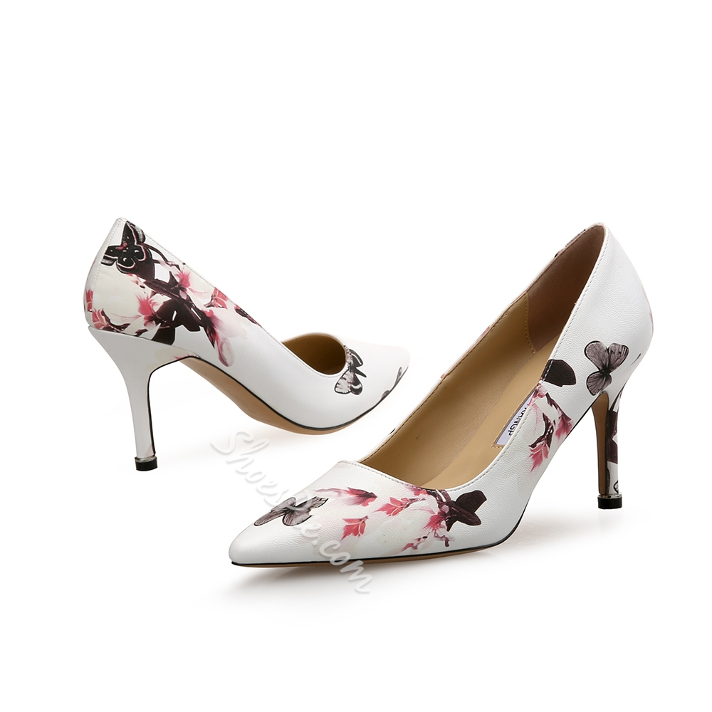 Floral Slip-On Stiletto Heel Pumps