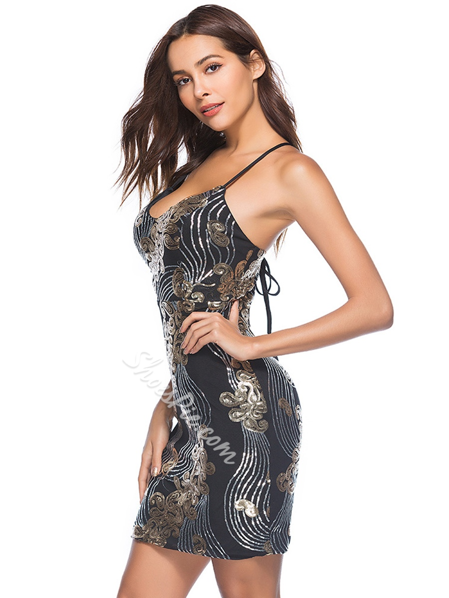 Backless Sequins Lace-Up Bodycon Dresses