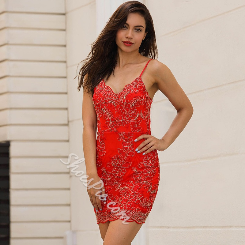 Spaghetti Strap Backless Embroidery Lace Bodycon Dresses