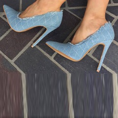 Denim Plaid Slip-On Stiletto Heels
