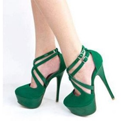 Green Buckle Platform Stiletto Heels