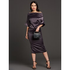Batwing Sleeve Half Sleeve Slash Neck