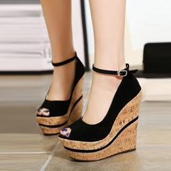 Black Platform Peep Toe Wedge Heels