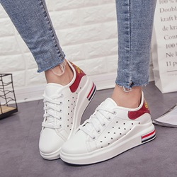 White Hollow Platform Women's Sneakers