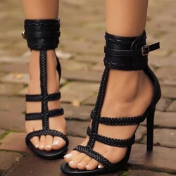 Black Open Toe Stiletto Heel Sandals