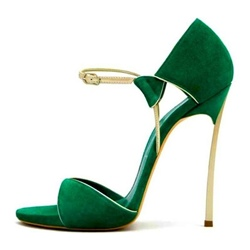 Green Line-Style Buckle Stiletto Heels
