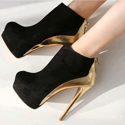 Platform Stiletto Heel Color Block Ankle Boots