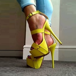 Yellow Platform Stiletto Heel Sandals