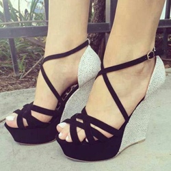 Patchwork Peep Toe Wedge Heels