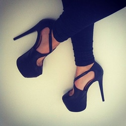 Black Platform Slip-On Stiletto Heels