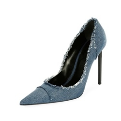 Worn Denim Slip-On Stletto Heels