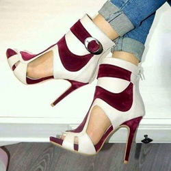 Color Block Hollow Stiletto Heel Sandals