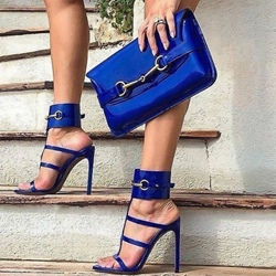 Blue Open Toe Stiletto Heel Sandals