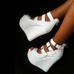 White Buckle Platform Wedge Heels