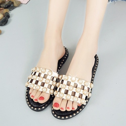 Beads Hollow Slip-On Flat Sandals