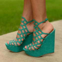 Green Platform Mesh Wedge Heels