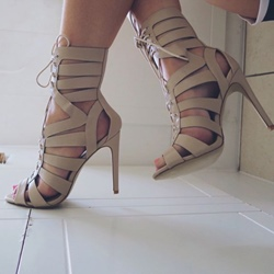 Hollow Lace-Up Front Stiletto Heel Sandals