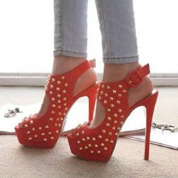 Rivet Platform High Stiletto Heels