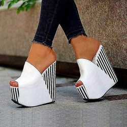 Shoespie White Platform Slip-On Peep Toe Wedge Heels
