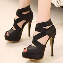 Black Peep Toe Platform Stiletto Heels