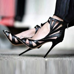 Black Strap Sexy Stiletto Heel Sandals