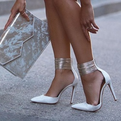 White Zipper Pointed Toe Stiletto Heels