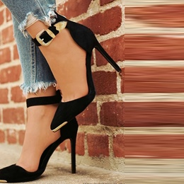 Black Line-Style Buckle Stiletto Heels