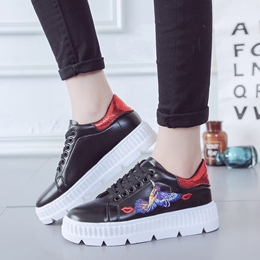 Embroidery Lace-Up Women's Sneakers