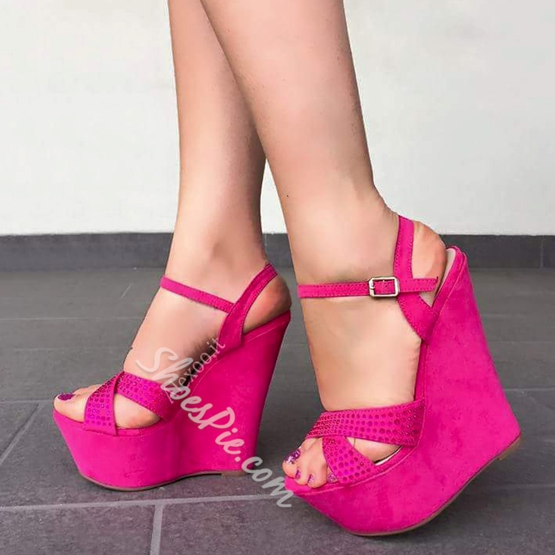 Rose Ankle Strap Wedge Heel Sandals