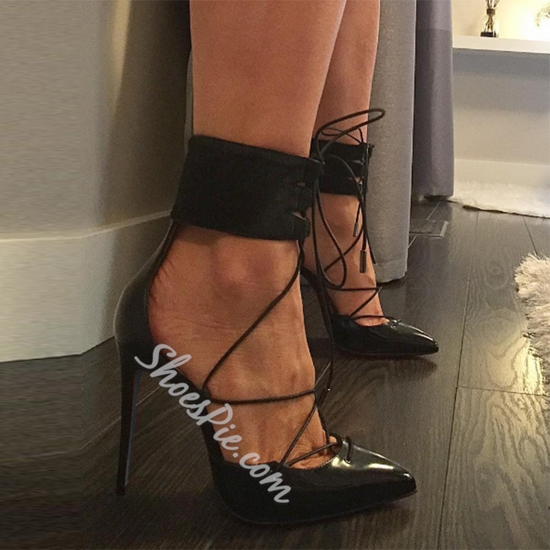 Black Lace-Up High Stiletto Heels