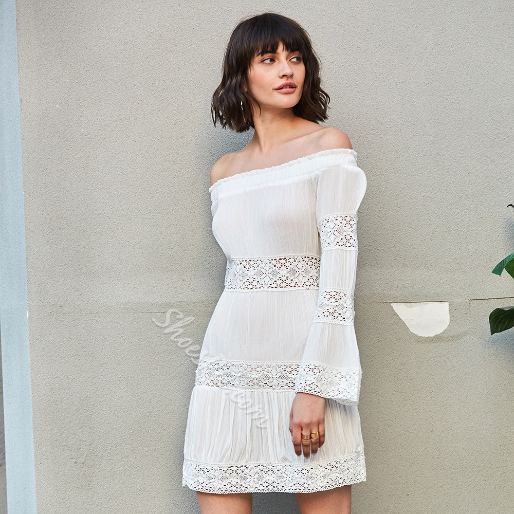 Slash Neck Lace Hollow Backless Flare Sleeve Dresses