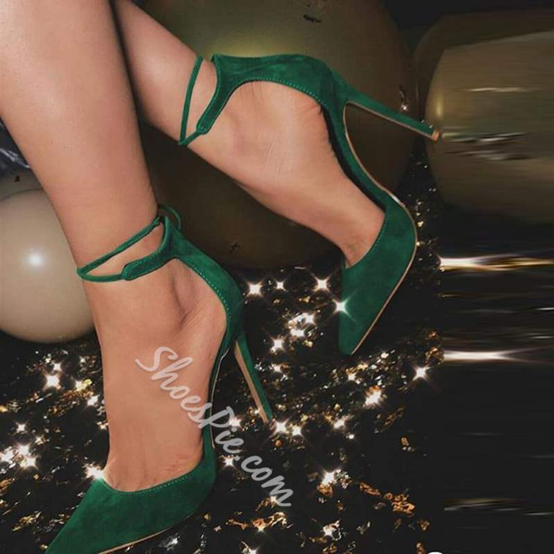 Green Casual Lace-Up Stiletto Heels