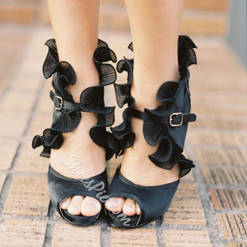Black Line-Style Buckle Dress Sandals