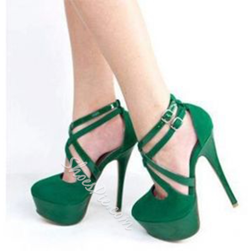 3081f5fff Green Buckle Platform Stiletto Heels- Shoespie.com