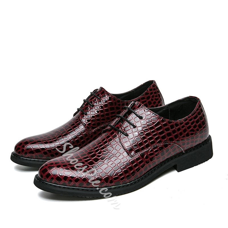 Lace-Up Professional Alligator Pattern Oxfords
